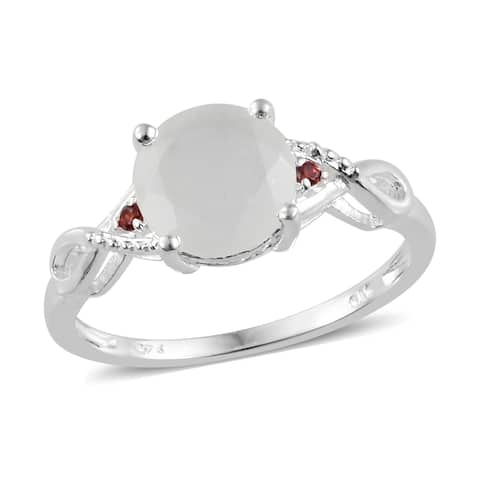 Shop LC Sterling Silver Moonstone Cubic Zircon Statement Ring Ct 2.32