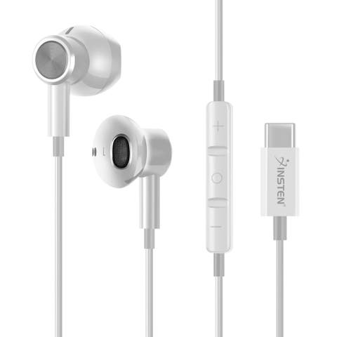 USB-C In-Ear Magnetic Wired Headset with Microphone, White
