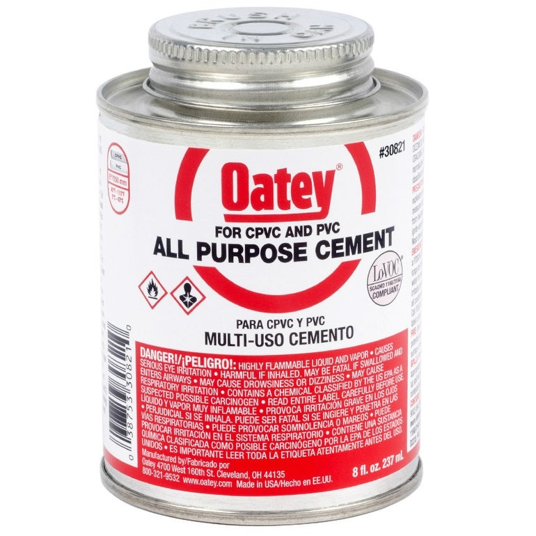 Oatey 30821 All Purpose Solvent Cement, 8 Oz, Clear