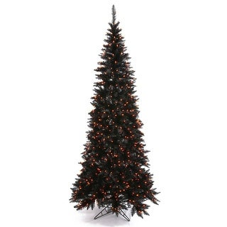 4.5' Pre-Lit Black Fir Slim Artificial Halloween/Christmas Tree - Orange Lights