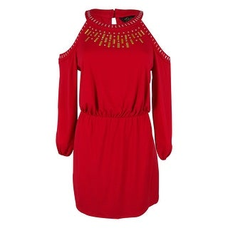 Thalia Sodi Women's Blouson Dress - Crimson Leaf