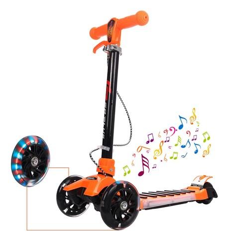 Goplus Folding Aluminum 3 LED Light Up Wheel Kids Kick Scooter Adjustable Height Music