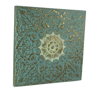 Embossed Floral Medallion Metal Wall Plaque in Blue or Green