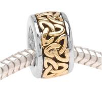 22K Gold Plated Trinity Celtic Knot On Silver Tone Bead - European Style Large Hole (1)