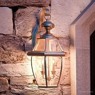 "Luxury Colonial Outdoor Wall Light, 20""H x 10.5""W, with Tudor Style, Versatile Design, Aged Silver Finish"
