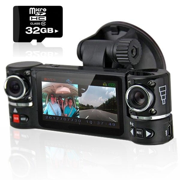 "Indigi® NEW F600 Car DVR DashCam w/ Dual Rotating Cameras (Front+Rear) Driving Recorder with 2.7"" LCD w/ 32gb microSD Included"