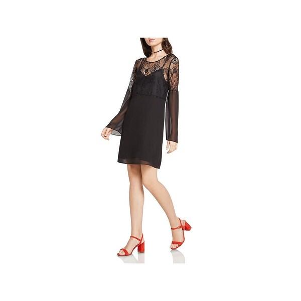 Shop Bcbgeneration Womens Party Dress Lace Yoke Shoulder Long