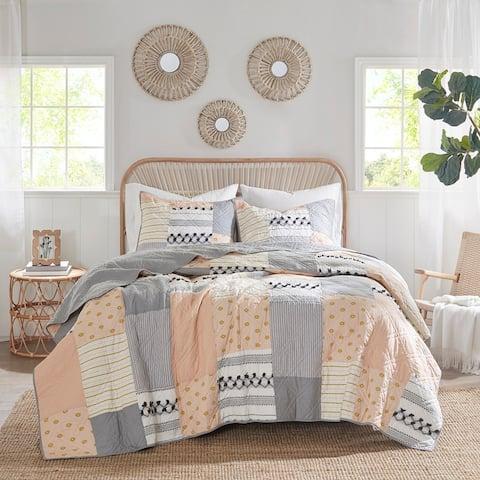 Madison Park Milly Blush/ Gray Cotton Coverlet Set