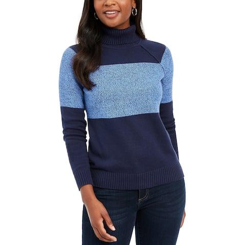 Karen Scott Women's Colorblocked Cotton Turtleneck Sweater Blue Size Medium