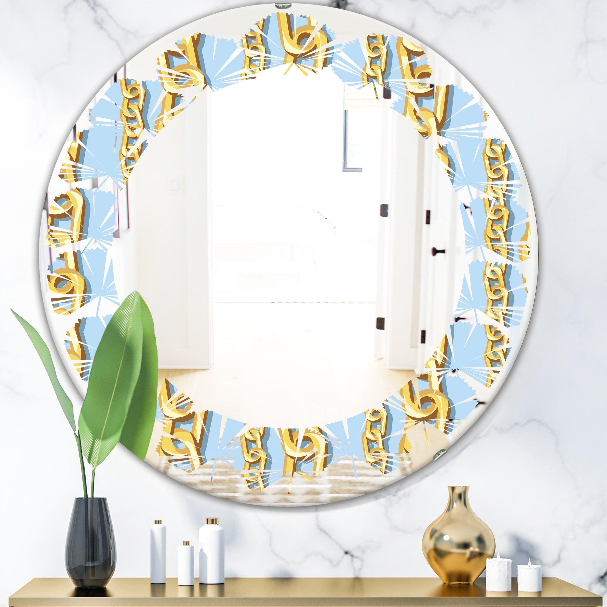 Designart Gold Chain Pattern Modern Round Or Oval Wall Mirror Leaves On Sale Overstock 29913489