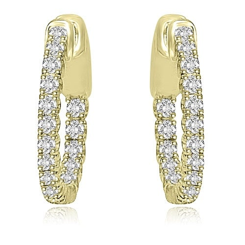 1.02 cttw. 14K Yellow Gold Round Cut Diamond Hoop Earrings