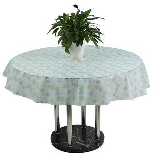 Party PEVA Floral Pattern Round Design Washable Table Cover Tablecloth 152cm Dia