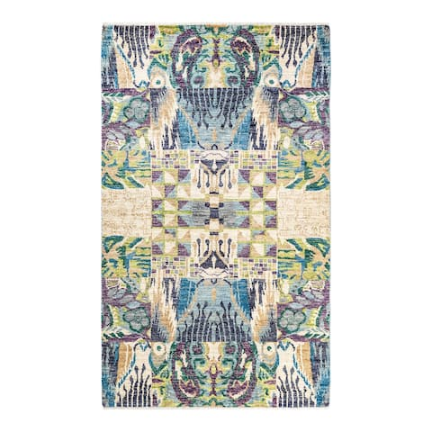 """Modern, One-of-a-Kind Hand-Knotted Area Rug - Light Blue, 5' 0"""" x 8' 4"""" - 5' 0"""" x 8' 4"""""""