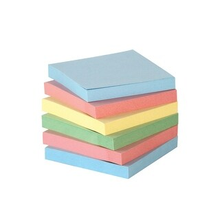 School Smart Removable Self-Stick Note, 3 X 3 in, Assorted Pastel Colors, 100 Sheets/Pad, Pack of 12