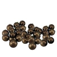 "32ct Shiny Chocolate Brown Shatterproof Christmas Ball Ornaments 3.25"" (80mm)"
