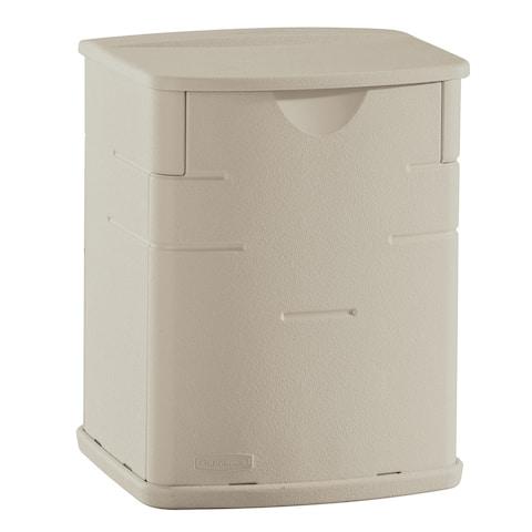 "Rubbermaid FG374301 6"" Wide Polyethylene Outdoor Storage Box - Sandstone"