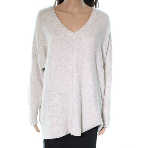 French Connection Gray Marled Wool Women Small S V-Neck Sweater