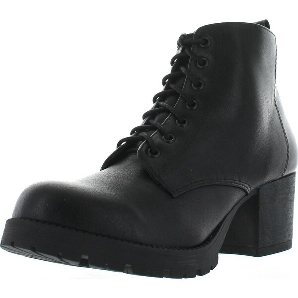 Women's Nevitt Faux Leather Lace Up Chunky Heel Combat Style Boots