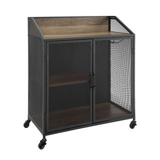 """Offex 33"""" Industrial Bar Cabinet with Mesh - Rustic Oak"""