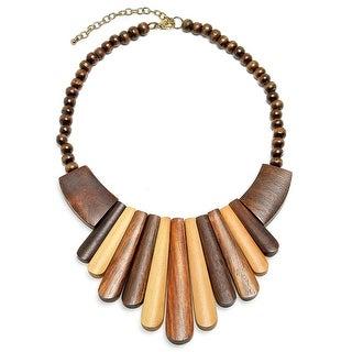 Artisan Teak Wood Bib Collar Necklace 15in