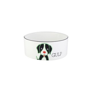 American Atelier Everyday Pet 6 Inch Gulp White Pet Bowl with Black and Mint Accents