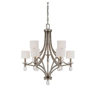 """Savoy House 1-7155-9 Filament 9 Light 33"""" Wide 2 Tier Chandelier with Crystal Accents"""
