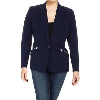 Lauren Ralph Lauren Womens Plus One-Button Blazer Twill Work Wear
