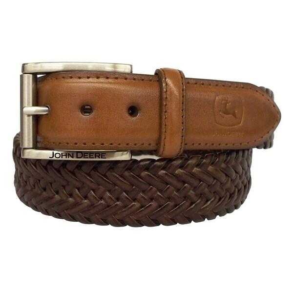 John Deere Western Belt Mens 35MM Braid Roll Bar Buckle Tan
