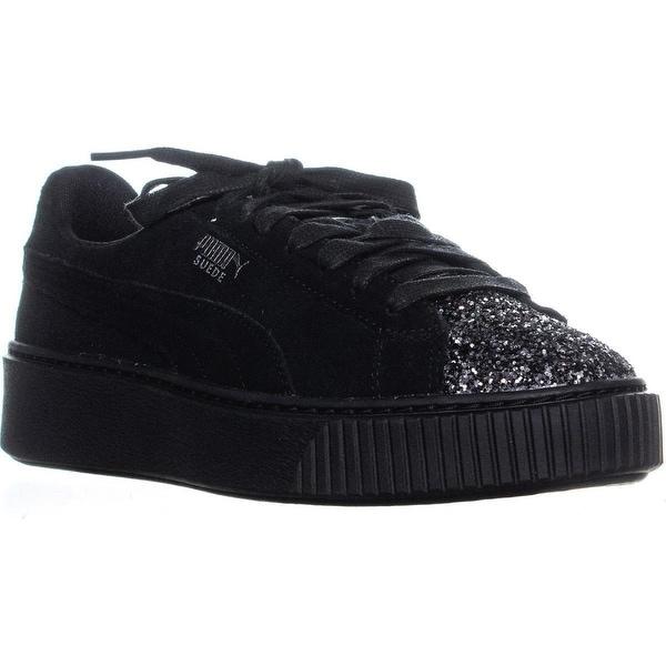 Shop Puma Suede Platform Lace-Up Sneakers, Black/Aged Silver ...