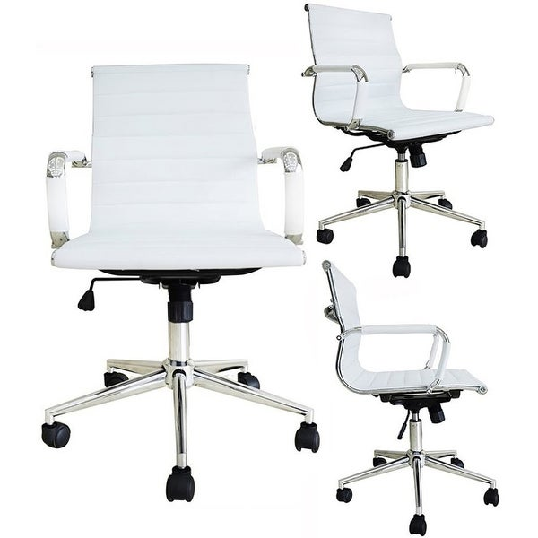 2xhome Executive Ergonomic Mid Back Office Chair Ribbed PU Leather Adjustable Manager Conference Computer Desk White