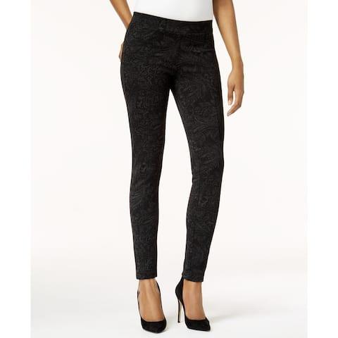 Style & Co Women's Petite Printed Seam-Front Leggings Black Size Petite