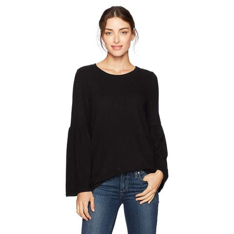 kensie Women's Plush Touch Bell Sleeve Sweater, Black, S, Black, Size Small