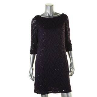 Jessica Howard Womens Petites Cocktail Dress Lace Sequined