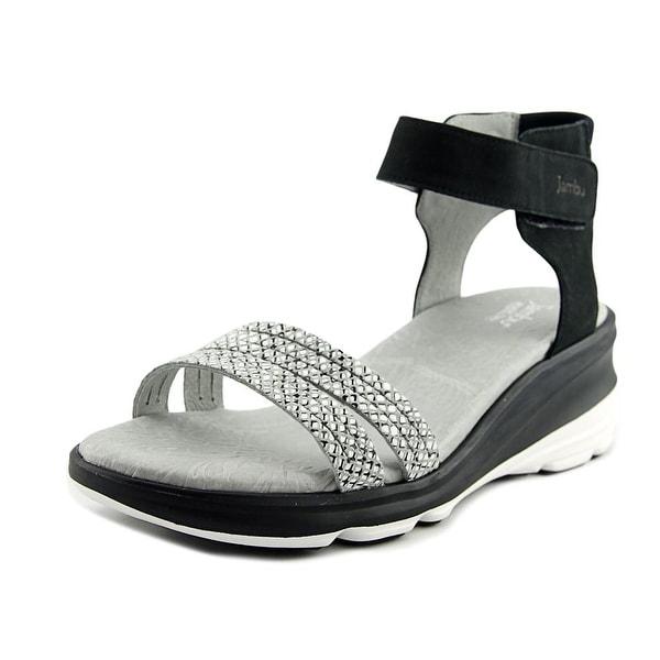 Jambu Santorini Women Open-Toe Leather Black Slingback Sandal