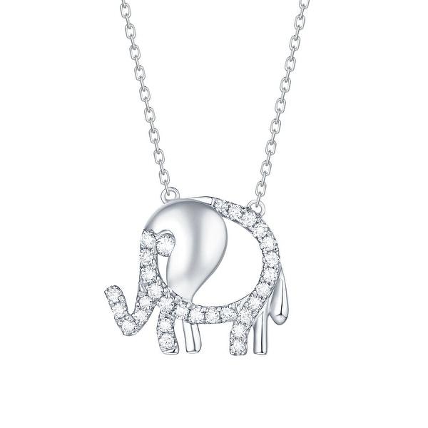 Smiling Rocks 0.24Ct G-H/VS1 Lab Grown Diamond Cute Elephant Necklace
