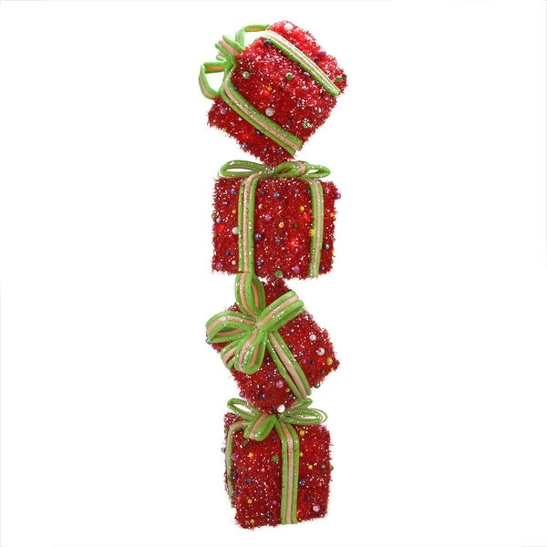 "34"" Lighted Sparkling Red Tinsel Candy Gift Box Tower Christmas Outdoor Decoration"