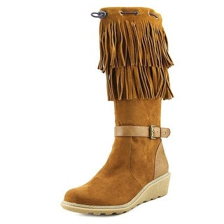 Tommy Hilfiger Heidi Fringe Youth Round Toe Suede Brown Knee High Boot