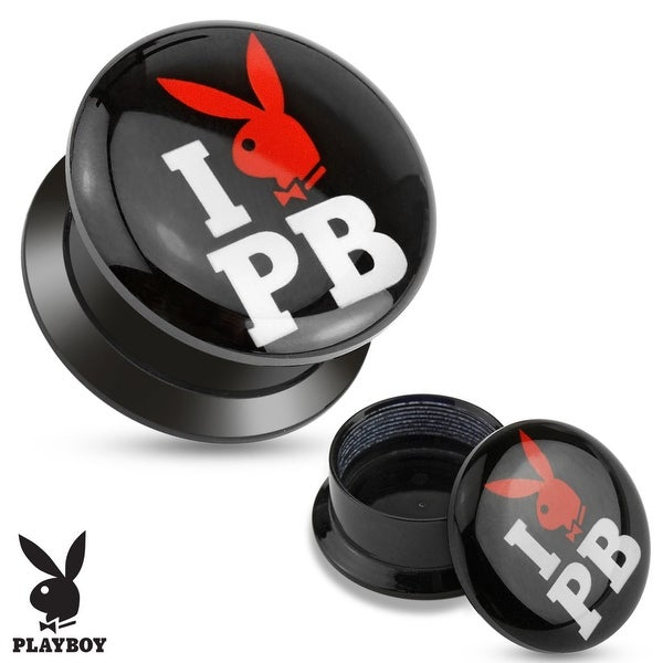 """I Love Playboy"" Print Black Acrylic Flat Screw Fit Plug (Sold Individually)"