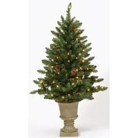 4' Pre-Lit Potted Freemont Pine Artificial Christmas Tree - Clear Lights - green