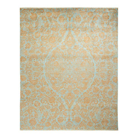 """Suzani, One-of-a-Kind Hand-Knotted Area Rug - Light Blue, 8' 0"""" x 10' 2"""" - 8' 0"""" x 10' 2"""""""