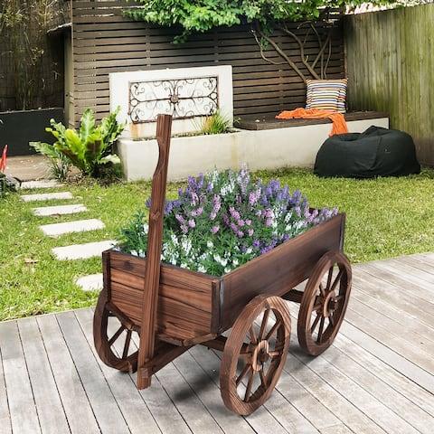 Wooden Wagon Backyard Grow Flowers Planter with Wheels
