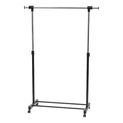 Adjustable and Extendable Single-Rod Clothes Garment Rack with Lockable Wheels