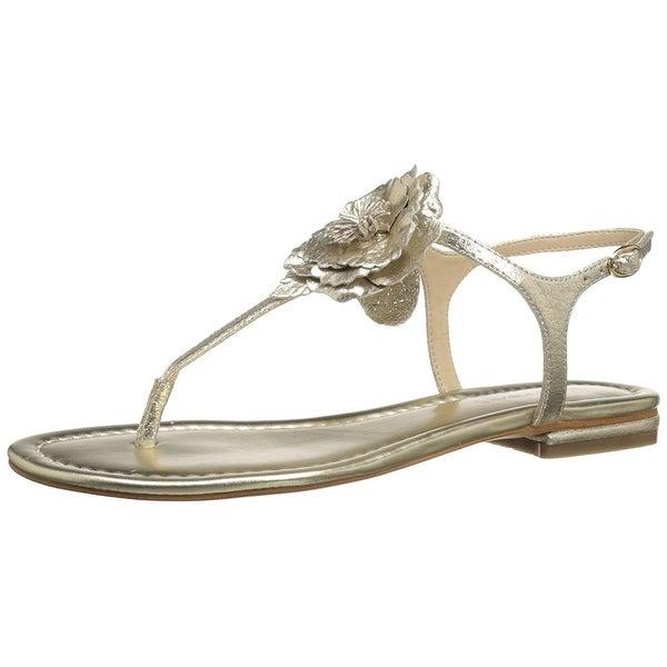 Marc Fisher Womens Elysone2 Leather Split Toe Casual T-Strap Sandals