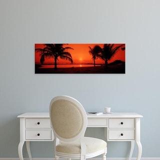 Easy Art Prints Panoramic Image 'Silhouette of palm trees on the beach at dusk, Lydgate Park, Kauai, Hawaii' Canvas Art