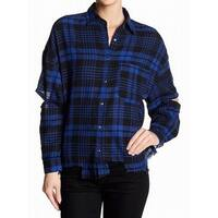 Lush NEW Blue Womens Size Large L Plaid Open-Elbow Button Down Shirt