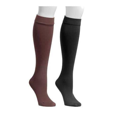 MUK LUKS Women's Fleece Lined 2-Pair Pack Knee High Socks Black/Brown