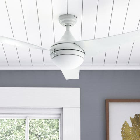 Honeywell Rio LED Ceiling Fan with Remote Control, 3 Modern Blades, Bright White - 52-inch