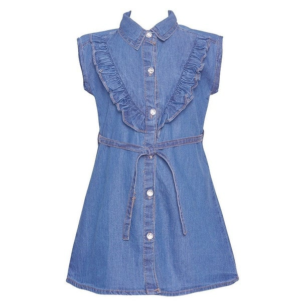 19249e446 Shop Little Girls Blue Ruffle Trim Belted Shirt Style Vintage Denim Dress -  Free Shipping On Orders Over $45 - Overstock.com - 21212250