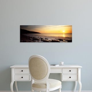 Easy Art Prints Panoramic Images's 'Sunset over the sea, Celtic Sea, Wales' Premium Canvas Art