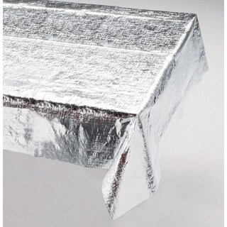 Club Pack of 12 Rectangular Silver Metallic Party and Banquet Table Cloths